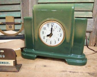 Lanshire Self Starting clock Ceramic Green Clock does not work, Electric Art Deco