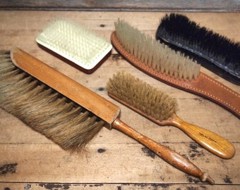 Wonderful Lot of Vintage Brushes cool wooden handles Leather and Advertising Brown's Instant collection brush