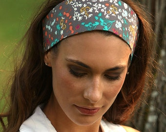 Wide Headbands for Women   Colorful Floral Print Fashion Headband   Teal  Blue on Gray Background   Funky Flowery Print   Womans   Adults 344eca1460