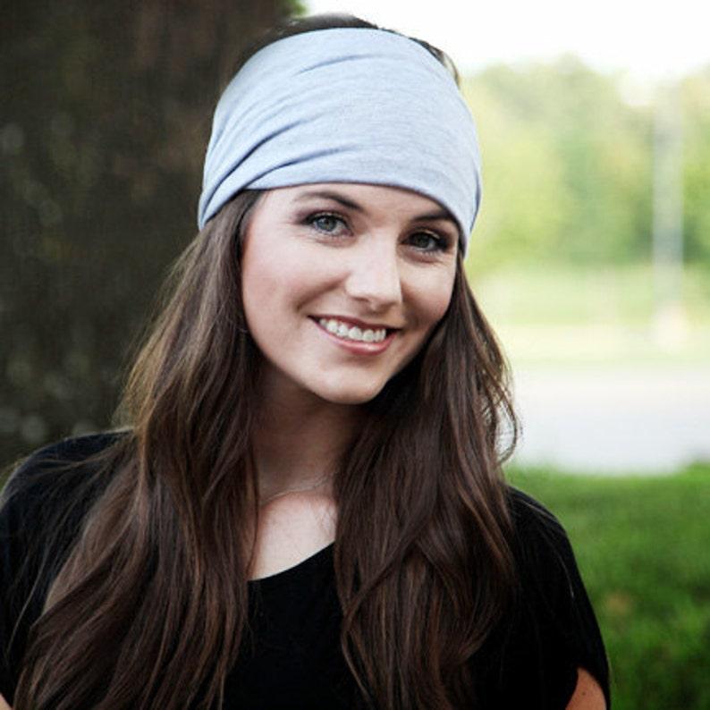 Big Headband   Large Headband   Gray Headband   Stretchy Headwrap  8777bc52a68