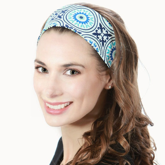Blue Headband for Woman   Head Band   Blue White   Colorful    f45322922bb