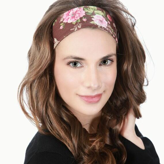 Headbands for Women   Floral Print   Pink Brown   Soft Fabric  87bd8b0f0b8