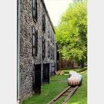 Bourbon Distillery Photo, Woodford Reserve,  Whiskey Barrels Photo, Limestone Architecture, Kentucky Bourbon Art, Green Brown Gray Decor