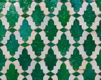 Emerald Green Art, Moroccan Tile Art, Geometric Pattern, Morocco Photograph, Moroccan Decor, Bold Wall Art, Graphic Wall Art, Abstract Art