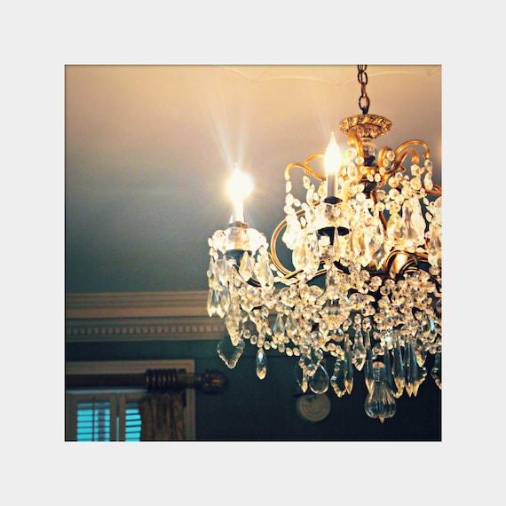 Gold White Interior Design: Crystal Chandelier Photo Teal Gold White Art Interior