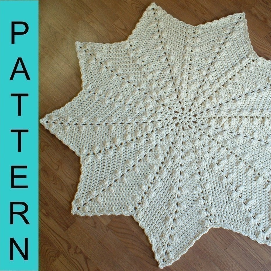 Crochet Pattern 9-pointed Popcorn Round Ripple Afghan