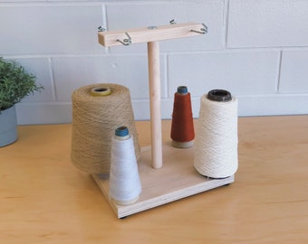 4 Spool Maple Weavers' Yarn Cone Holder with Hardware Assembly