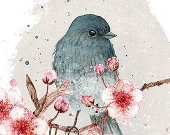 Bird and Cherry blossom 8 x 10 print