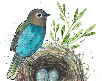 Bluebird and nest 8 x 10 print