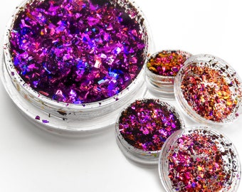 """Holographic Color Shift Metallic Foil Flake Art Pigments """"Imperial Orchid"""" Lumiere Lusters for Lampworking and Polymer Clay"""
