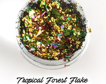 """Rainbow Holographic Metallic Foil Art Pigments """"Tropical Forest""""  Lumiere Lusters"""
