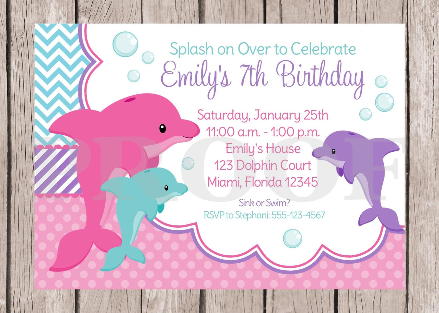 PRINTABLE Pink Dolphin Birthday Party Invitation / Pink and | Etsy