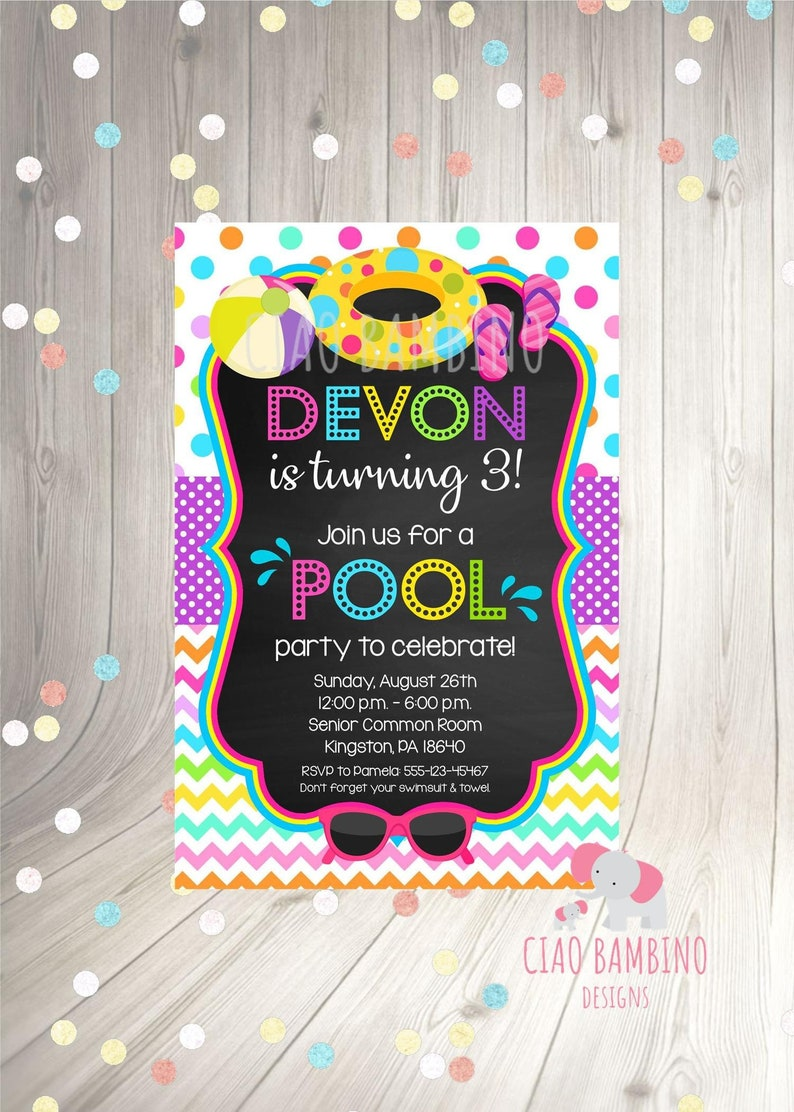 PRINTABLE Pool Party Invitation Print Your Own Girls