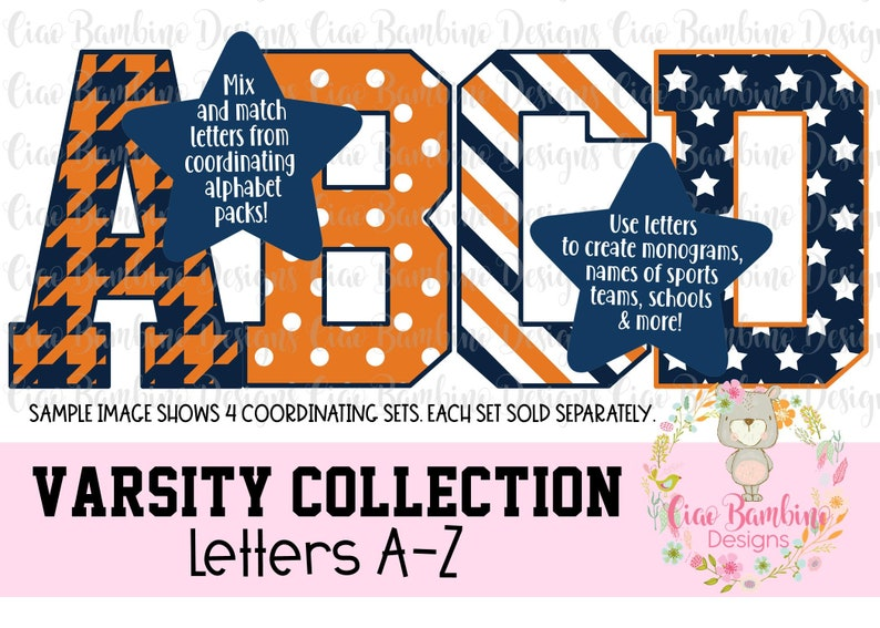 Orange & Blue Houndstooth Alphabet Pack / Varsity College Football Letters  A - Z for Sublimation Designs, Game Day Shirts / INSTANT DOWNLOAD