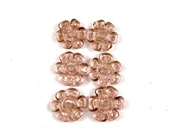 Petal flower disc bead pair by Patty Lakinsmith