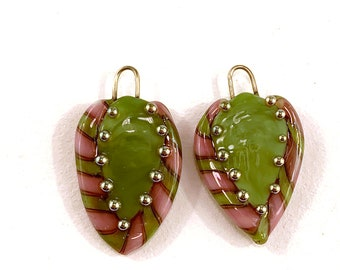 Green and Pink Flat Leaf Pair by Patty Lakinsmith