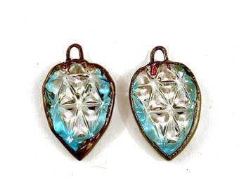 Electroformed Pressed Glass Earring Pair in Clear and Blue Glass by Patty Lakinsmith