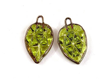 Electroformed Pressed Glass Earring Pair in Olive Green Glass by Patty Lakinsmith