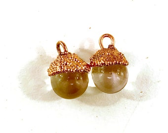 Copper Electroformed Lampwork Glass Clear Dewdrop Charm Pair by Patty Lakinsmith