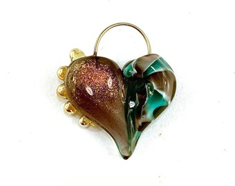Heart Shaped Glass Pendant in Purple and Teal by Patty Lakinsmith
