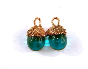 Copper Electroformed Lampwork Glass Dewdrop Charm Pair in Teal by Patty Lakinsmith