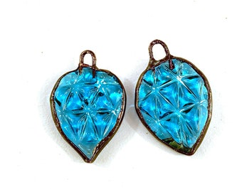 Electroformed Pressed Glass Earring Pair in Aqua Blue Glass by Patty Lakinsmith