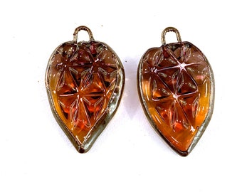 Electroformed Pressed Glass Earring Pair in Purple and Amber Glass by Patty Lakinsmith