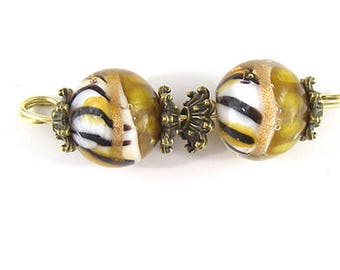 sra artisan lampwork glass animal print earring pair flameworked pattylakinsmith patty Lakinsmith matched pairs handmade