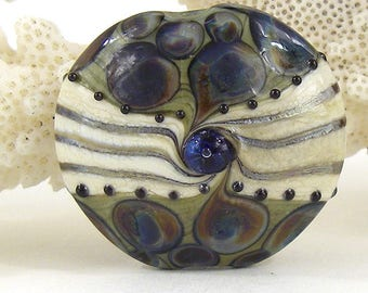 Large lentil lampwork glass  focal bead sra artisan patty lakinsmith pattylakinsmith playa tortuga colorful handmade