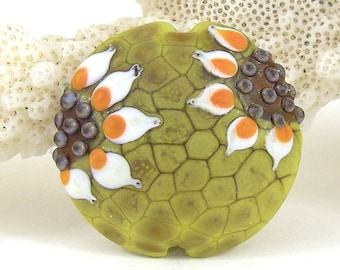 Large lampwork glass bead focal sra artisan patty lakinsmith floral lentil ocher coral flower garden sunflower white handmade focal bead