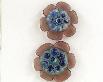 Glass Button Set / Art Glass / shank style button / decorative button / lampwork button / glass jewelry clasp