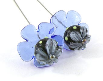 sra artisan lampwork glass headpins set flameworked pattylakinsmith patty Lakinsmith matched pairs blue handmade