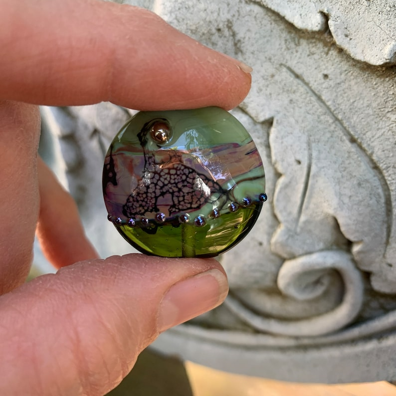 Green and Purple Floral Focal Bead by Patty Lakinsmith