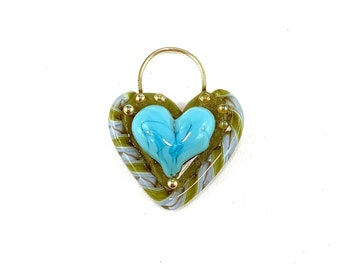 Heart Shaped Glass Pendant in Turquoise, Green, & Periwinkle by Patty Lakinsmith