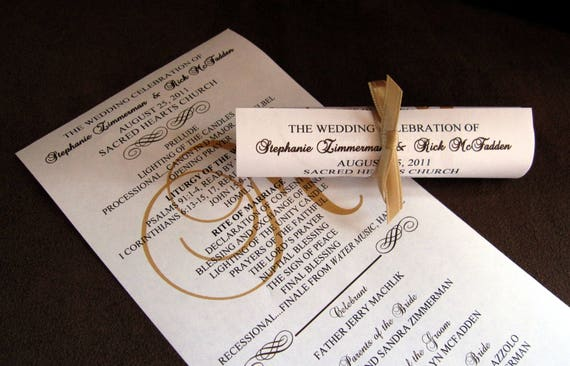 single sided mini scroll wedding programs etsy