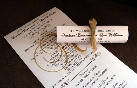 mini scroll wedding programs deposit standard production etsy