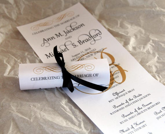 double sided mini scroll wedding programs deposit standard etsy
