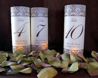 Custom Damask Illuminated Table Numbers Wrap Lanterns-just add candles-set of 10