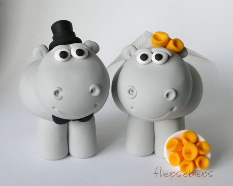 Custom Hippo Cake Topper Wedding image 0