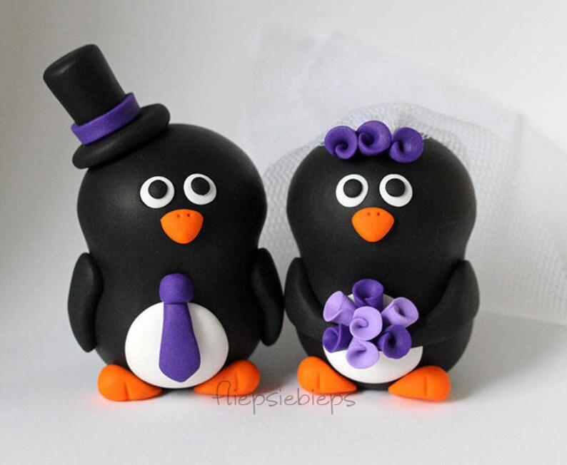 Custom Wedding Penguin Cake Topper image 0