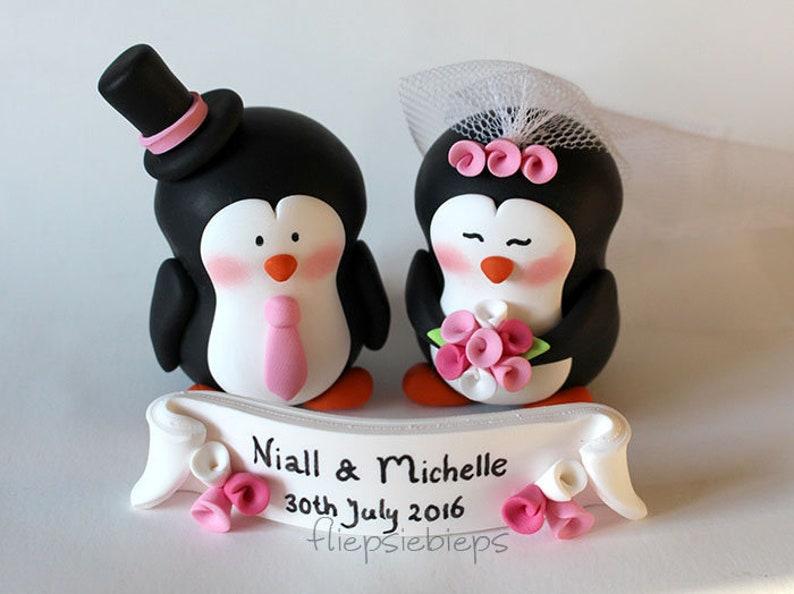 Custom Penguin Wedding Cake Topper image 0
