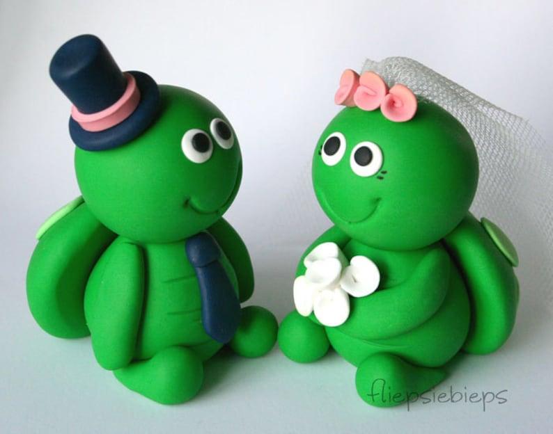 Customise Turtle Wedding Cake Topper image 0
