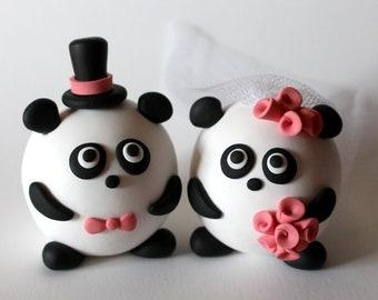 Custom Round Panda Wedding Cake Topper