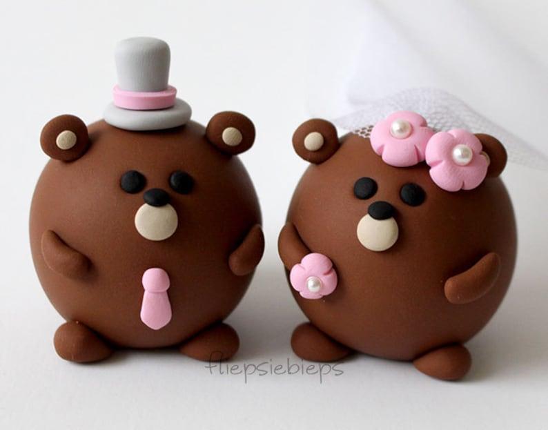 Custom Round Bear Wedding Cake Topper image 0