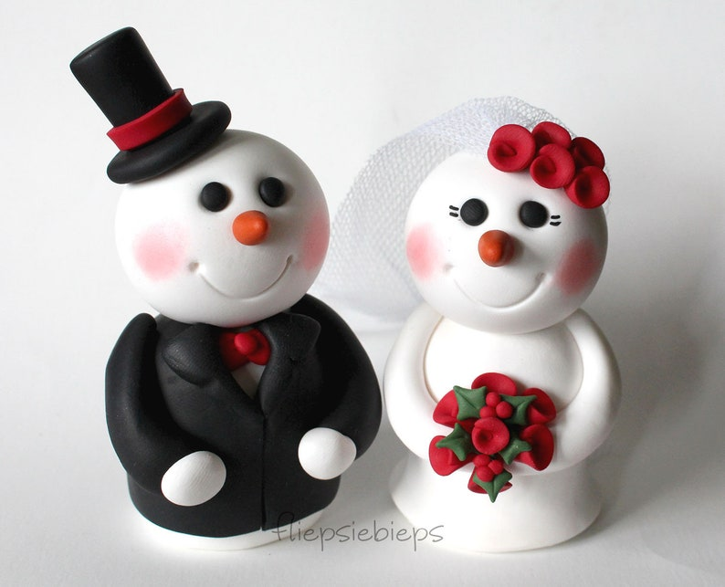 Custom Snowman Wedding Cake Topper image 0