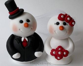 Snowman wedding cake topper winter wedding cake topper