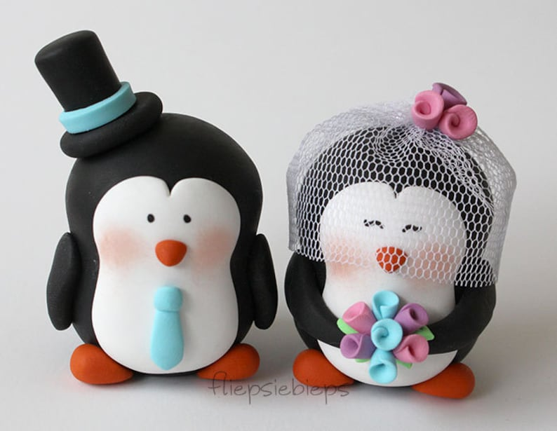 Custom Penguin Cake Topper wedding image 0