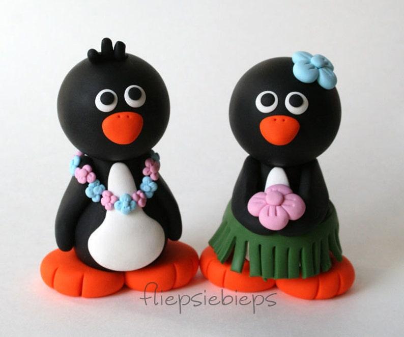 Custom Hawaiian Penguin Wedding Cake Topper image 0