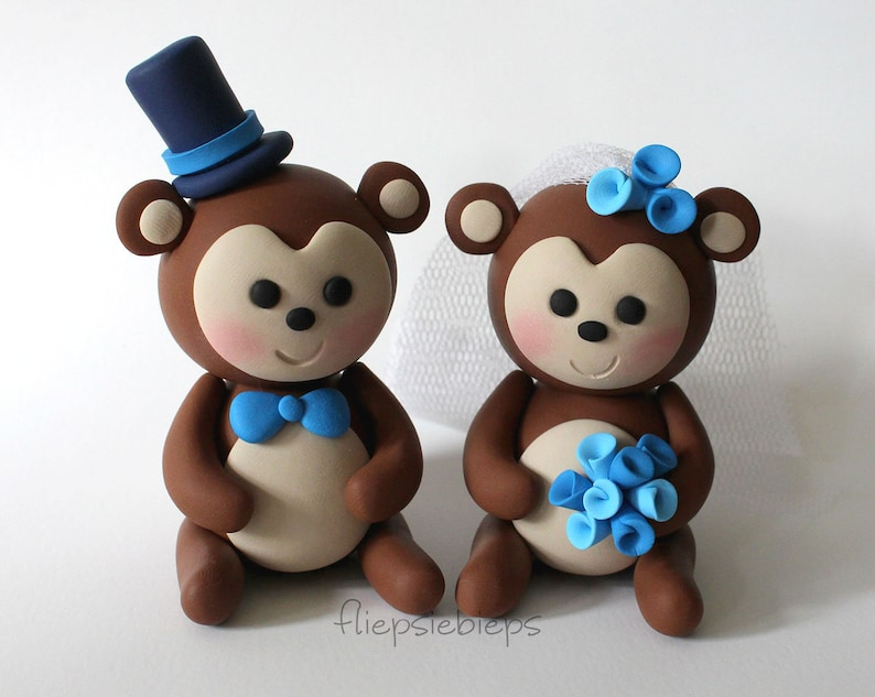 Custom Monkey Wedding Cake Topper image 0