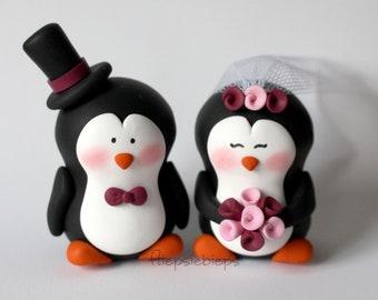 Custom Penguin Cake Topper Wedding